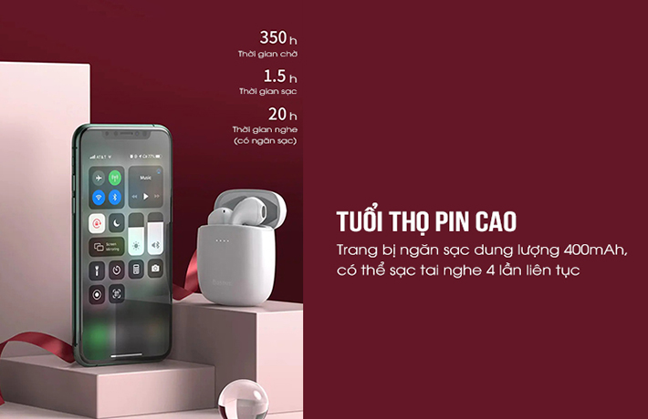 Tai nghe True Wireless Baseus W04 Pro 8