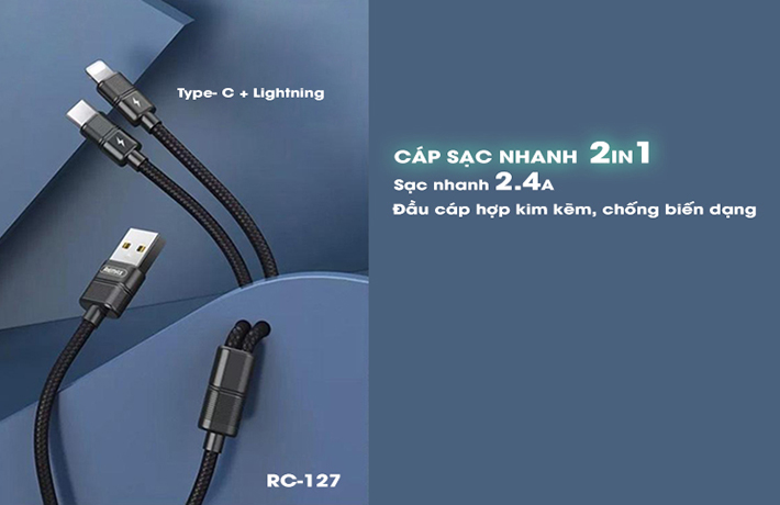 Cáp sạc Remax RC-127 2in1 Lightning + Type-C 1