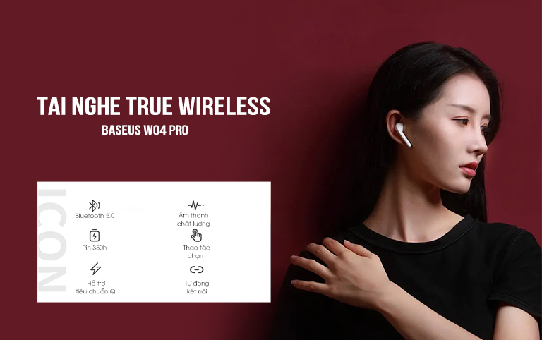 Tai nghe True Wireless Baseus W04 Pro