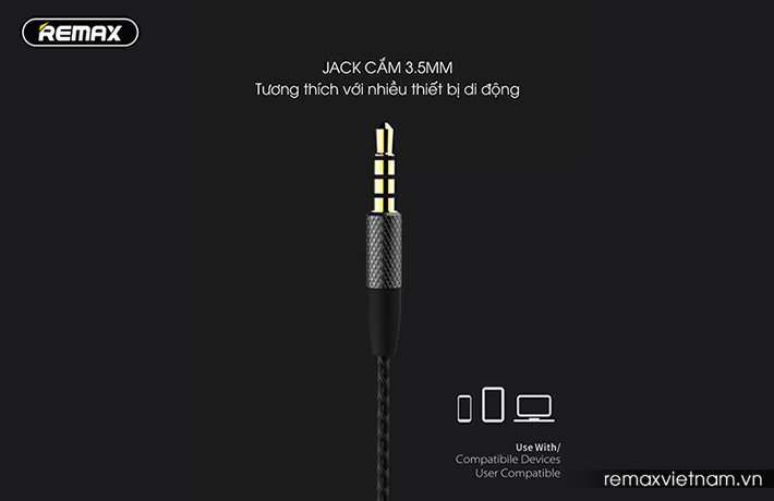 Tai nghe in-ear Remax RM-590 hỗ trợ jack cắm 3.5
